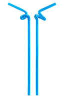 blue drinking straw isolated
