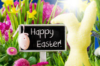 Spring Flowers, Text Happy Easter