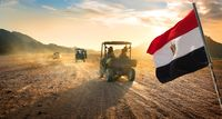 Flag and buggies in desert