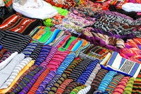 Display of traditional textile at the street market in Montevide
