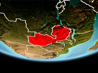 Zambia in red in the evening