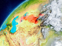 Space view of Uzbekistan in red