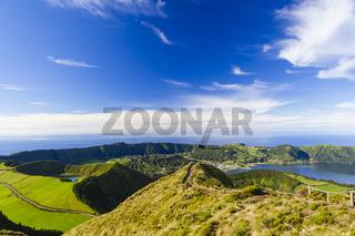 Blick auf Sete Citades, Sao Miguel, Azoren, Portugal