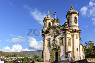 Ancient and historical catholic church in Ouro Preto city