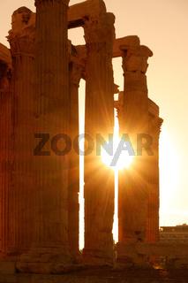 Antique columns in sunlight