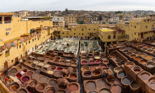 Tanneries in Fes, Morocco, Africa