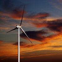 Wind turbine and sunset sky