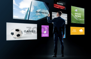 businessman working with virtual applications