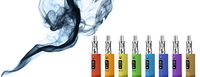 Eight multicolored electronic cigarettes