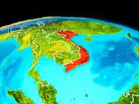 Vietnam in red