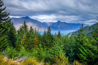 Lake Wakatipu and mountain forest, New Zealand