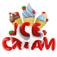 ice cream in a waffle cone