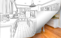 Kitchen Drawing Page Corner Flipping with Photo Behind
