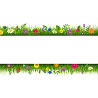 Grass And Flowers Border Banner