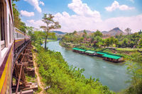 Train on Wang Pho Viaduct, Death Railway, Kanchanaburi, Thailand