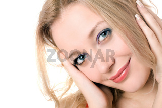 cheerful young blond lady