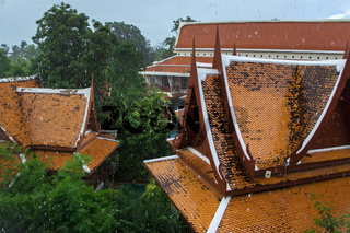 Strong tropical downpour in Thailand
