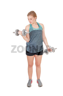 Young woman lifting her two dumbbell's