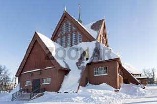 Historische Holzkirche in Kiruna, Schweden
