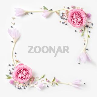 Fresh pink roses frame border isolated