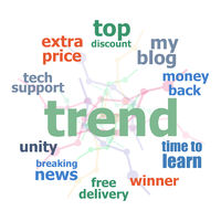 Text trend. Business concept . Word cloud collage. Background with lines and circles