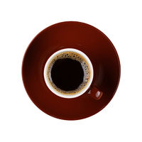 Full small brown cup of black coffee isolated