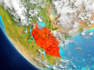 Satellite view of Tanzania in red