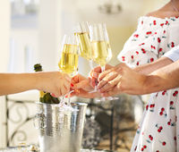 Friends making toast. Party with sparkling champagne glasses