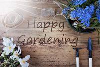 Sunny Spring Flowers, Text Happy Gardening