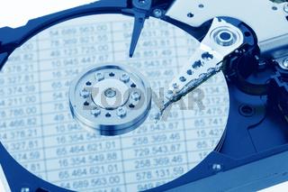Festplatte eines Computers. Buchhaltung