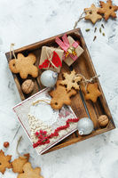 Christmas cookies,gifts,greeting card and silver balls.