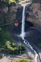Bridal veil (Manto de la novia), waterfall in Cascades route, Banos, Ecuador
