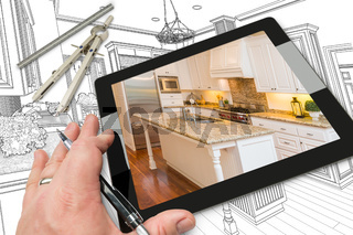Hand on Computer Tablet Showing Photo of Kitchen Drawing Behind with Compass and Ruler