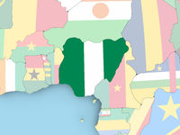 Map of Nigeria with flag on globe