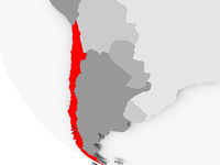 Map of Chile in red