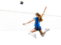 Young woman volleyball player isolated (with ball and net version)