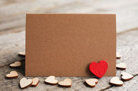 Blank greeting card and hearts