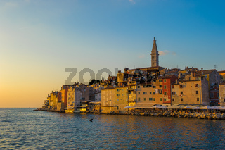 Old town of Rovinj at sunset, Istrian Peninsula, Croatia