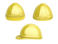 Yellow plastic safety helmet