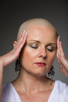 beautiful woman cancer patient without hair