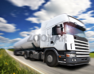 truck driving on country-road/motion
