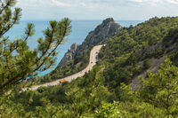 Road on the coast of the Black Sea of Crimean peninsula