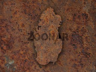Karte von Katar auf rostigem Metall - Map of Qatar on rusty metal