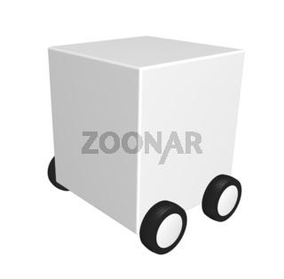 weißer würfel auf rädern - 3d illustration