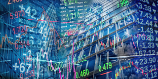Finanzsymbole mit City Hintergrund