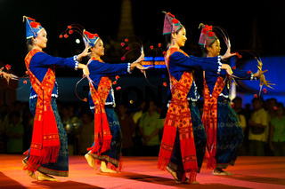 Thai Female Traditional Dancers Night Performance