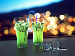 3D rendering glass with long cocktail with ice on a dark background