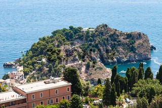 view of cape near Isola Bella island from Taormina