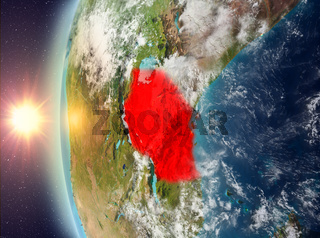 Tanzania during sunset from space