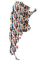 Argentinien Karte Leute Menschen People Gruppe Menschengruppe multikulturell